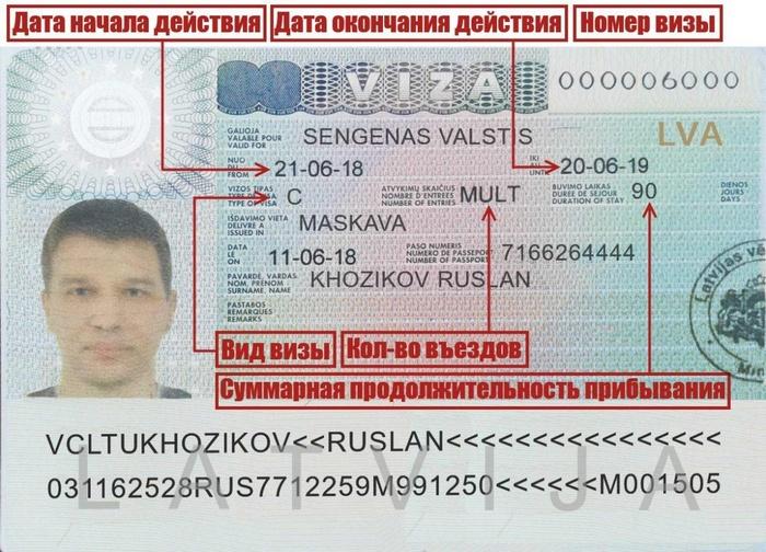 Как читать латвийскую визу