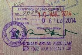 Штамп о продлении индонезийской визы