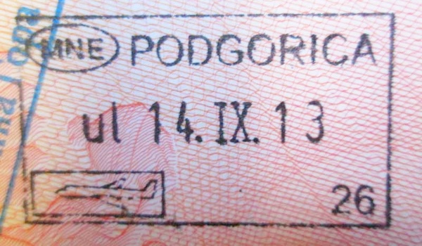 Безвизовый штамп для посещения Черногории