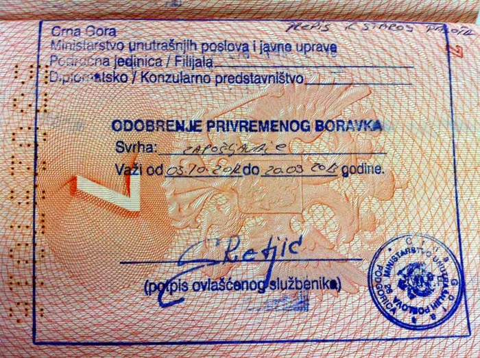 Виза в Черногорию для россиян