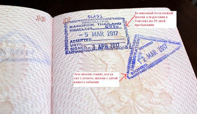 Таиланд без визы: штамп о въезде и выезде