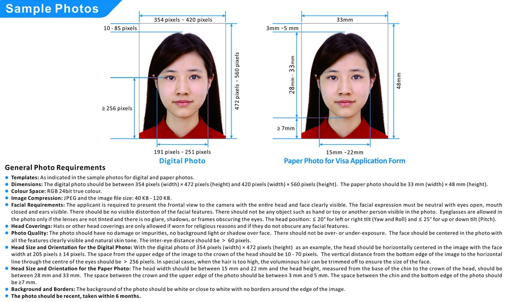 Требования к фото для китайской визы