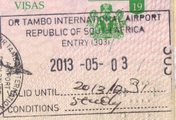 Штамп в паспорте о пересечении границы ЮАР