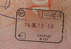 Штамп о пересечении границы Македонии в безвизовом порядке